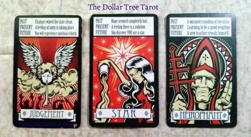 Dollar Tree Tarot: Judgement, Star, Heirophant.
