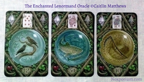 The Enchanted Lenormand Oracle: Birds-12, Fish-34, & Scythe-10.