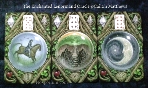 The Enchanted Lenormand Oracle: Rider-1, Crossing-36, & Moon-32.