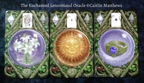The Enchanted Lenormand Oracle: Lily-30, Sun-31, & Ring-25.