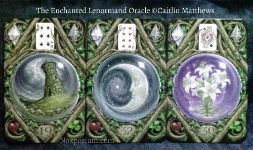 The Enchanted Lenormand Oracle: Tower-19, Moon-32, & Lily-30.