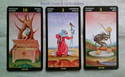 Bosch Tarot: 10 of Pentacles, 3 of Swords, & 3 of Pentacles