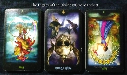 Legacy of the Divine: 2 of Coins rv, Knight of Swords rv, & 9 of Coins rv.