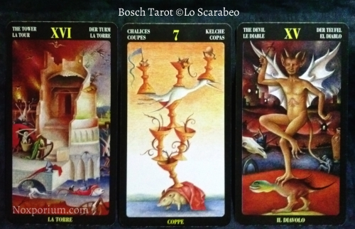 Bosch Tarot: The Tower, 7 of Chalices, & The Devil.