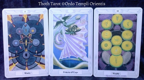 Thoth Tarot: 5 of Disks, Princess of Cups, & 10 of Pentacles.