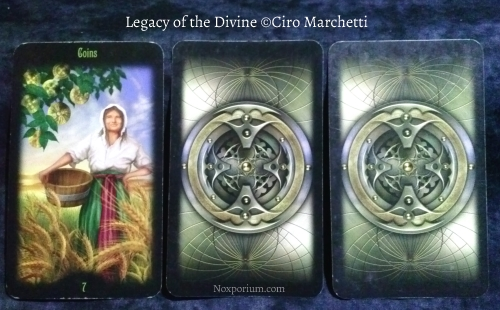 Legacy of the Divine: 7 of Pentacles & card backs.