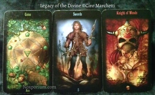 Legacy of the Divine: Ace of Coins, 5 of Swords, & Knight of Wands.