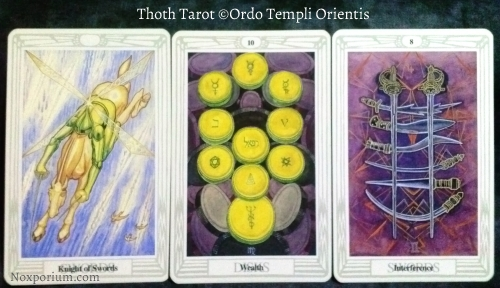 "Thoth Tarot: Knight of Swords, 10 of Disks ""Wealth"", & 8 of Swords ""Interference""."