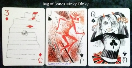 Bag of Bones: 3 of Diamonds, Jack of Spades, & Queen of Clubs