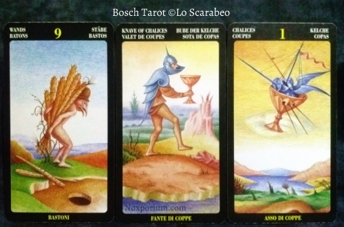 Bosch Tarot: 9 of Wands, Knave of Chalices, & Ace of Chalices.