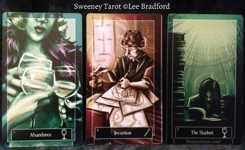Sweeney Tarot: 3 of Cups, Ace of Wands, & Page of Cups.