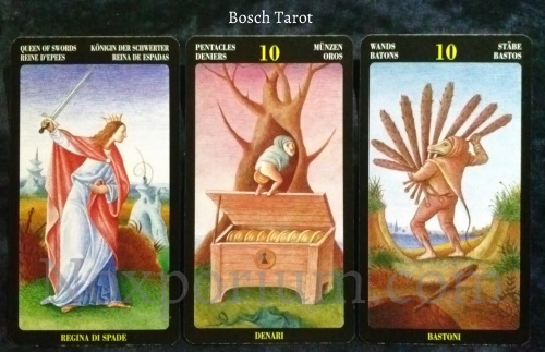 Bosch Tarot: Queen of Swords, 10 of Pentacles, & 10 of Wands.