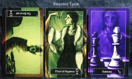 Sweeney Tarot: King of Cups (rv), 9 of Cups, & 2 of Swords.