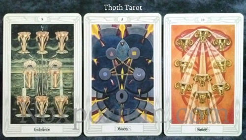 Thoth Tarot: 8 of Cups, 5 of Disks, & 10 of Cups.