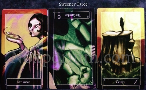 Sweeney Tarot: Justice, Queen of Cups reversed, & 6 of Wands.