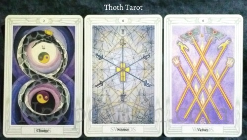 Thoth Tarot: 2 of Disks, 6 of Swords, & 6 of Wands