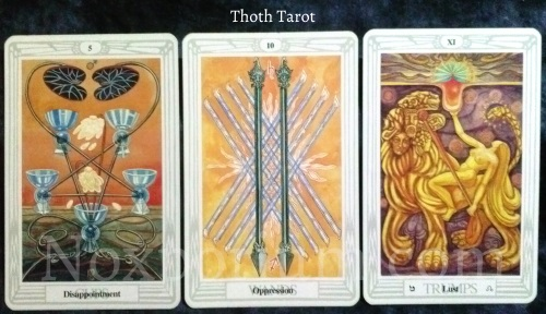 Thoth Tarot: 5 of Cups, 10 of Wands, Lust [XI].