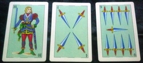 La Baraja Española 48: 10 Espadas, 4 Espadas, & 9 Espadas.