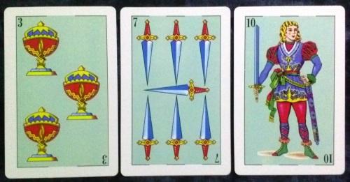 La Baraja Española 48: 3 Copas, 7 Espadas, & 10 Espadas.