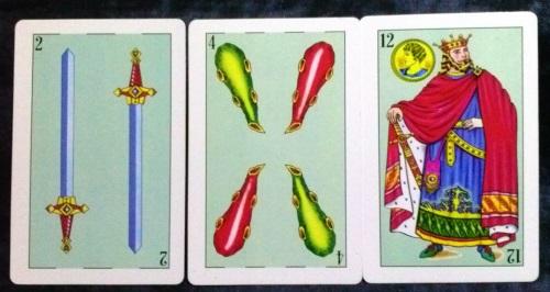 La Baraja Española 48: 2 Espadas, 4 Bastos, & 12 Oros.