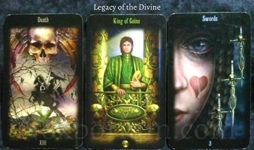 Legacy of the Divine: Death, King of Coins, & 3 of Swords.
