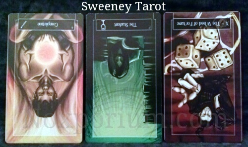 Sweeney Tarot: 4 of Wands reversed, Page of Cups reversed, & The Wheel of Fortune reversed.