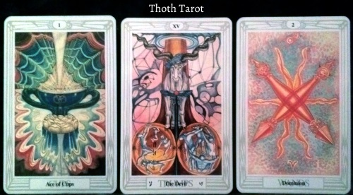 Thoth Tarot: Ace of Cups, The Devil, & 2 of Wands.