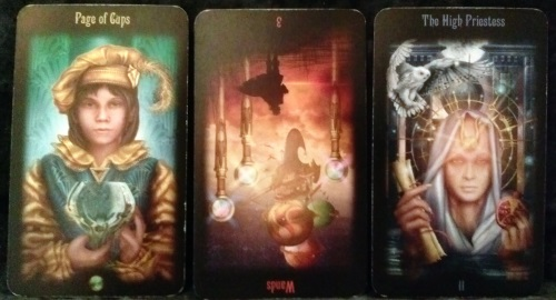 Legacy of the Divine: Page of Cups, 3 of Wands reversed, & The High Priestess.