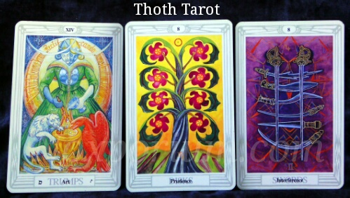 Thoth Tarot: Art [XIV], 8 of Disks, & 8 of Swords.
