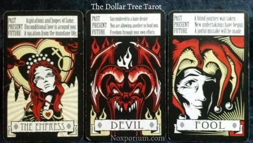 The Dollar Tree Tarot Majors: The Empress, Devil, & Fool.