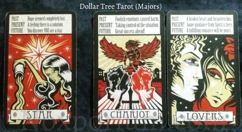 The Dollar Tree Tarot Majors: Star. Chariot & Lovers.