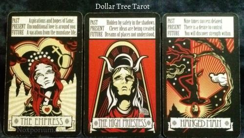 The Dollar Tree Tarot Majors: The Empress, The High Priestess, & Hanged Man.