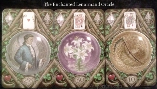The Enchanted Lenormand Oracle: Man (28), Lily (30), & Scythe (10).