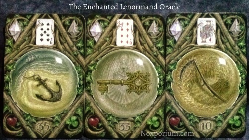 The Enchanted Lenormand Oracle: Anchor (35), Key (33), & Scythe (10).