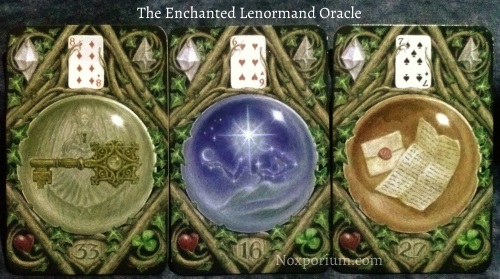 The Enchanted Lenormand Oracle: Key (33), Star (16), Letter (27).