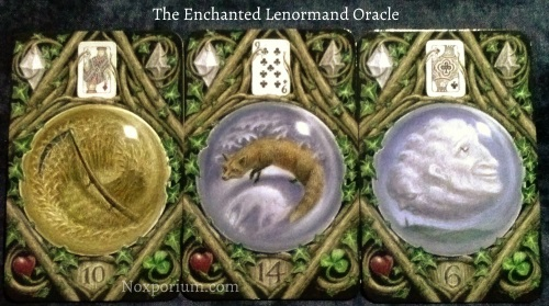 The Enchanted Lenormand Oracle: Scythe (10), Fox (14), & Cloud (6).