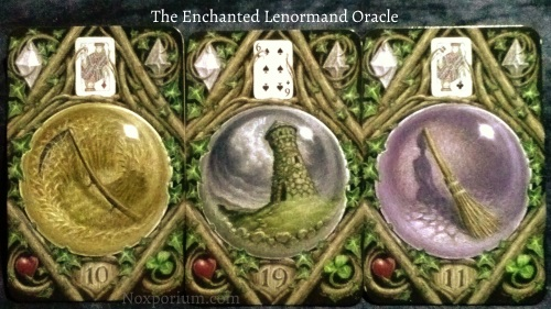The Enchanted Lenormand Oracle: Scythe (10), Tower (19), & Broom (11).