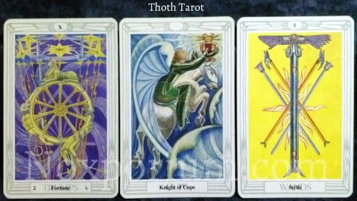 Thoth Tarot: Fortune, Knight of Cups, & 5 of Wands.
