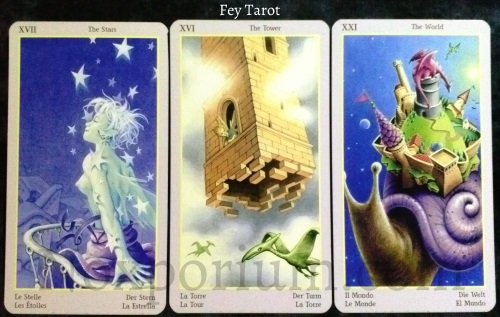 Fey Tarot: The Stars, The Tower, & The World.