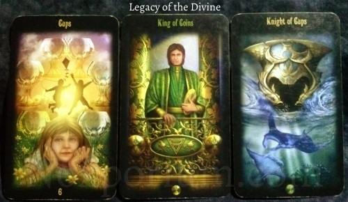 Legacy of the Divine: 6 of Cups, King of Coins, & Knight of Cups.