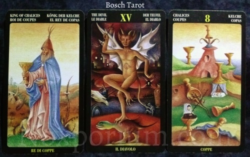 Bosch Tarot: King of Chalices, The Devil, & 8 of Chalices.