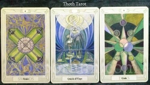 Thoth Tarot: 4 of Swords, Queen of Cups, & 9 of Disks.
