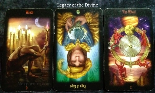 Legacy of the Divine: 9 of Wands, Page of Cups reversed, & The Wheel.