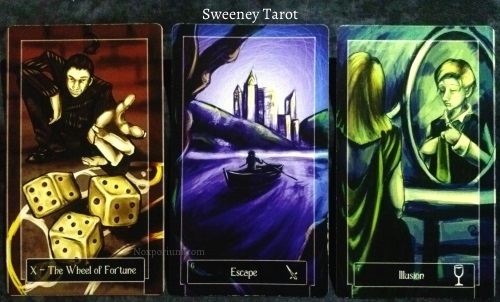 Sweeney Tarot: The Wheel of Fortune, 6 of Swords, & 7 of Cups.