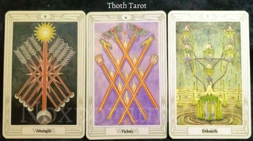 Thoth Tarot: 9 of Wands, 6 of Wands, & 7 of Cups.