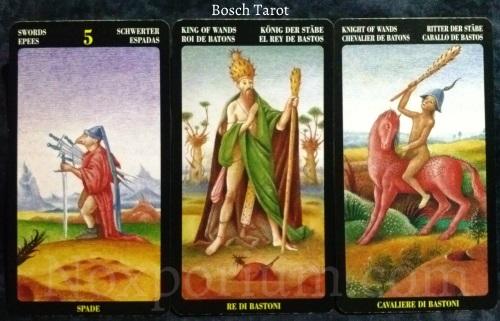 Bosch Tarot: 5 of Swords, King of Wands, & Knight of Wands.
