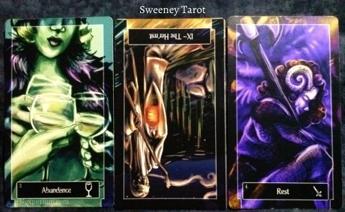 Sweeney Tarot: 3 of Cups, The Hermit reversed, & 4 of Swords.