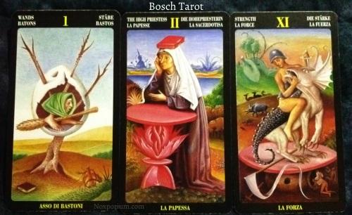 Bosch Tarot: Ace of Wands, The High Priestess, & Strength.