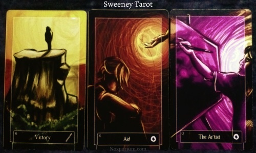 Sweeney Tarot: 6 of Wands, 6 of Coins, & Queen of Coins.