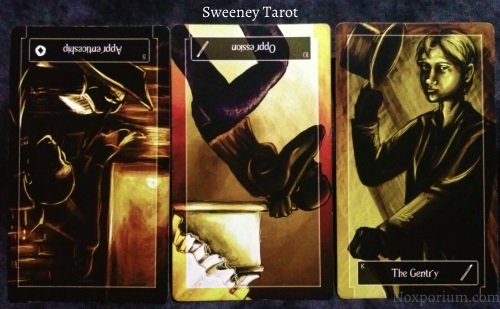 Sweeney Tarot: 8 of Coins reversed, 10 of Wands reversed, & King of Wands.